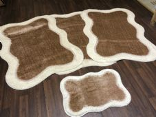 ROMANY WASHABLES NEW DESIGNS SET OF 4 MATS XLARGE SIZES 100X140CM CREAM/DK BEIG